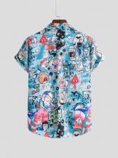 Cartoon Printed Short Sleeve Shirts For Men