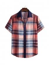 Contrast Color Plaid Short Sleeve Shirts For Men
