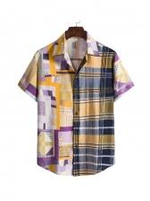 Colorful Plaid Patchwork Men Button Up Shirts