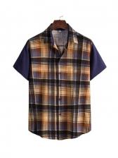 Casual Color Block Men Checkered Shirt
