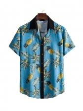 Chic 3D Printed Short Sleeve Men Collared Shirt
