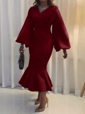 Chic Solid Ruffled Long Sleeve Maxi Dress