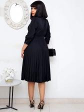 Mock Neck Pleated Long Sleeve Dress