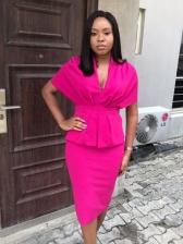 OL Style Solid Short Sleeve Bodycon Dress