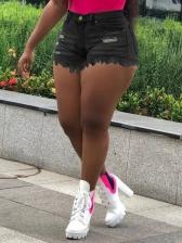 Summer Versatile Tassel Denim Short Pants
