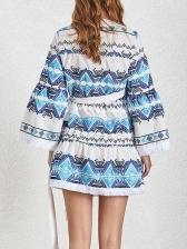 V Neck Flare Sleeve New Arrival Short Dress