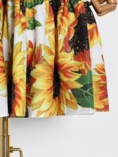 Vacation Style Sunflower Print Ruffled Dress