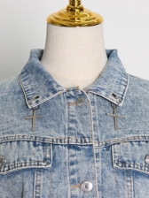 Trendy Patchwork Sequins Short Denim Jacket