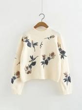 Korea Flower Embroidery Crew Neck Knitting Sweater