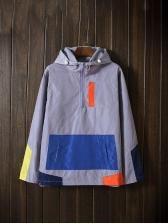 New Contrast Color Zipper Hooded Coat