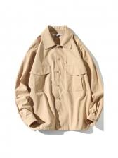 New Solid Pocket Long Sleeve Shirts Men