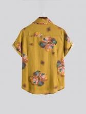 Vintage Print Turndown Collar Shirts