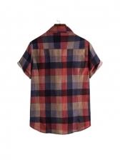 Korea Plaid Contrast Color Mens Shirts