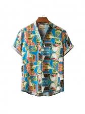 Vintage Colorful Print Short Sleeve Shirts