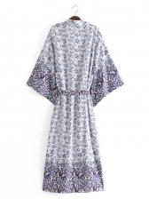 Vacation V Neck Print Maxi Dress