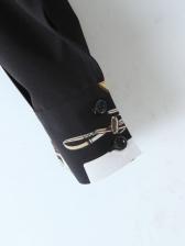 Contrast Color Tie Wrap Blouse Women