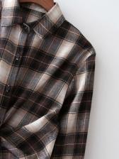 Casual Plaid Long Sleeve Shirt Dress