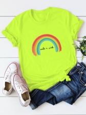 Street Rainbow Print Plus Size T Shirt