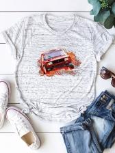 Street Car Print Loose Pullover Tee