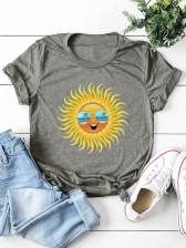 Sunflower Crew Neck Short Sleeve T Shirt