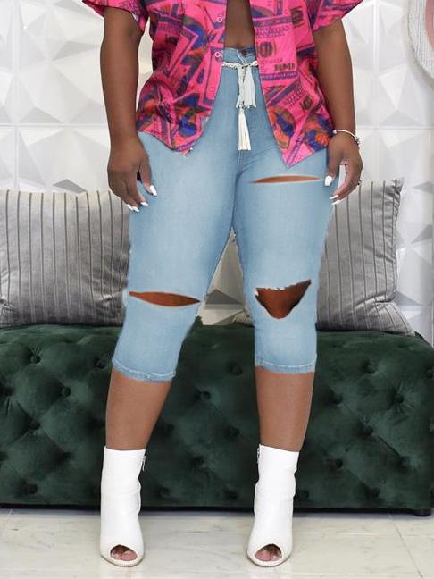 High Waist Skinny Hole Denim Cropped Trousers