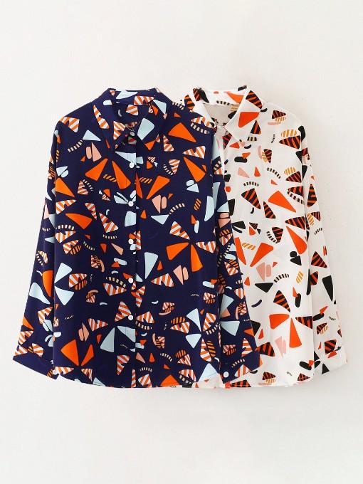 Vintage Loose Geometric Printed Long Sleeve Blouse
