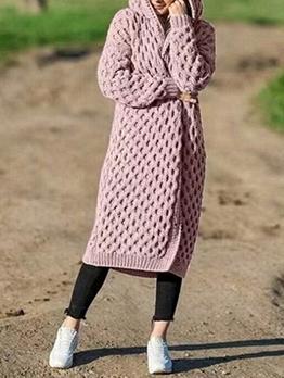 Winter Warm Solid Long Cardigan Sweater Plus Size