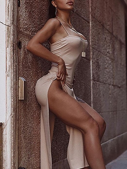 Fitted Sexy High Vent Camisole Maxi Dresses