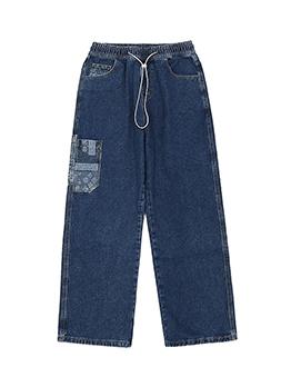Applique Pockets Wide Leg Designer Jeans
