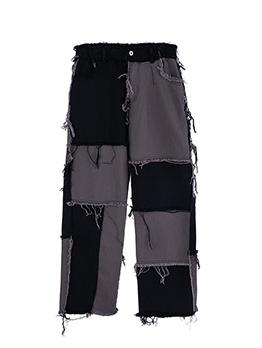 Raged Hem Contrast Color Patchwork Denim Jeans