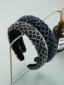 Sponge Wide Edge Vintage Beads Hair Hoop