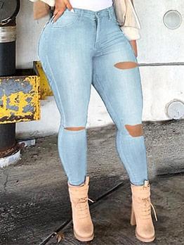 Chic Ripped Denim Women Jeans