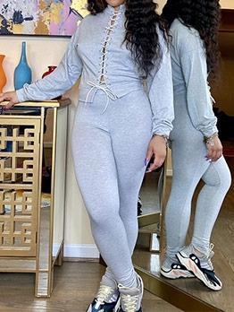 Lace-Up Design Solid 2 Piece Pants Set