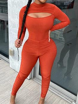 Fashion Cutout Pure Color 2 Piece Pants Set
