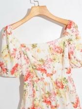 Square Neck Floral Short Sleeve Dress