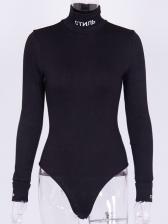 Mock Neck Long Sleeve One Piece Bodysuit