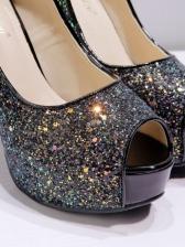 Peep-Toe Sequined Platform Women Stiletto