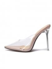 Clear Upper High Heel Womens Slippers