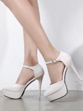Fashion Solid Ankle Strap Platform Heels