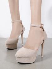 Chic Solid Stiletto Ladies Platform Heels