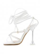 Square Toe Goblet Heel Lace-Up Sandals