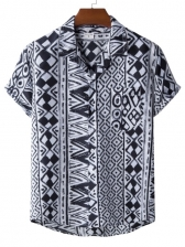 National Style Geometric Printed Shirts For Men