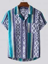 Geometric Printed Short Sleeve Men Collared Shirt