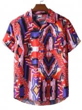 Color Block Short Sleeve Graphic Shirt
