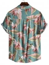 National Style Flower Printed Short Sleeve Shirt