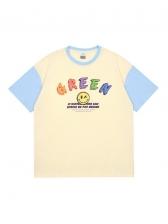 Cute Color Block Face Printed Couple T Shirt
