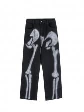 Street Wear Scrawl Printed Straight Leg Jeans