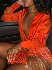 Sexy Tassels Decor Long Sleeve Shirt Dress