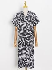 Animal Printed Loose Short Sleeve Casual Dresses