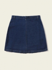 Button Fly Plus Size Solid Color Denim Skirt